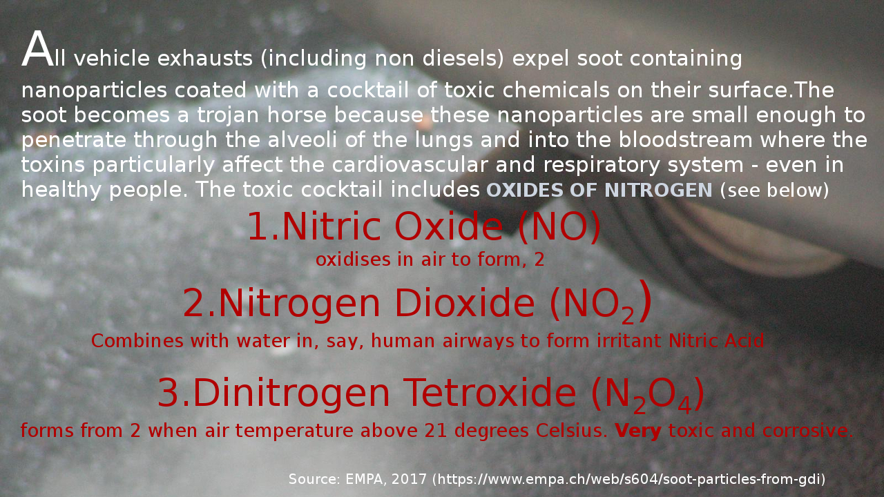 What's in the soot produced by internal combustion engines.